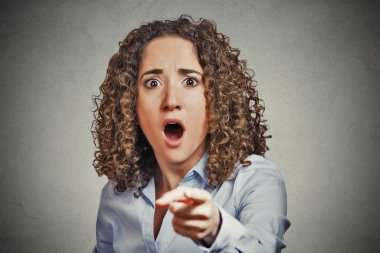 shocked terrified business woman pointing finger