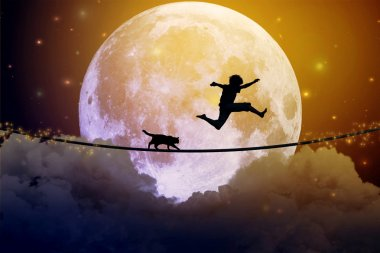 Happy boy teenager and cat jumping with balloon on a tight rope above clouds with moonlight moon background. Happiness care free concept. Elements of this image furnished by NASA stock vector