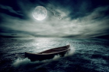 Boat drifting away in middle ocean after storm without course moonlight sky night skyline clouds background. Nature landscape screen saver. Life hope concept. Elements of this image furnished by NASA stock vector
