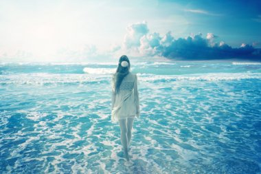Young woman walking on a dreamy beach enjoying ocean colorful blue sky view. Landscape nature screen saver stock vector
