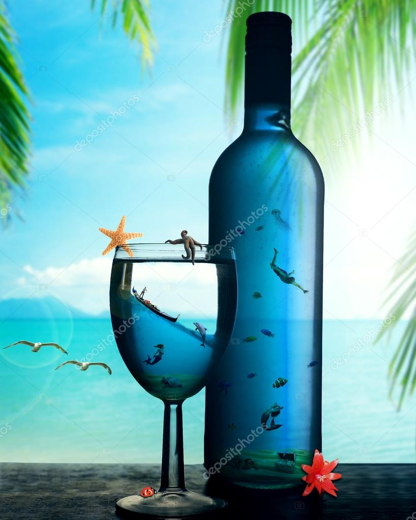 tropical dream paradise island underwater world in the bottle