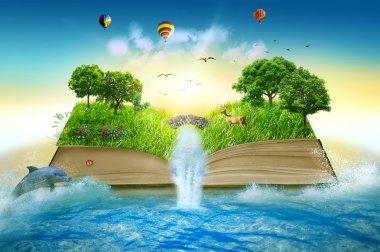 """Картина, постер, плакат, фотообои """"иллюстрационная магия открыла книгу, покрытую травяным водопадом """", артикул 65450719"""