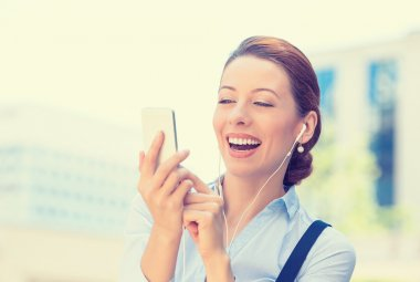 Business woman sending text message from mobile smartphone