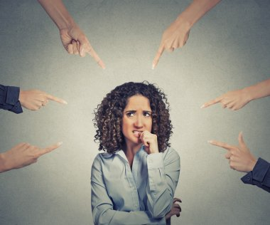 social accusation guilty business woman fingers pointing