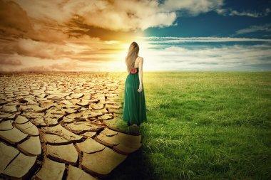 """Картина, постер, плакат, фотообои """"Образ концепции изменения климата. Пейзаж зеленой травы и засухи земли """", артикул 66526571"""