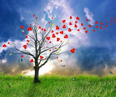 Love tree with heart leaves. Dream screensaver