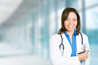 confident female doctor medical professional in hospital