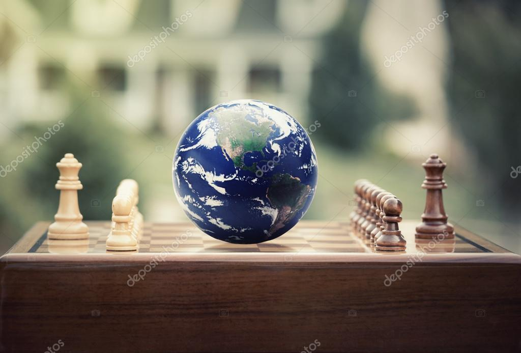 Chess game figures earth globe isolated on home background