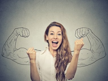 Happy woman exults pumping fists ecstatic celebrates success on gray wall background stock vector