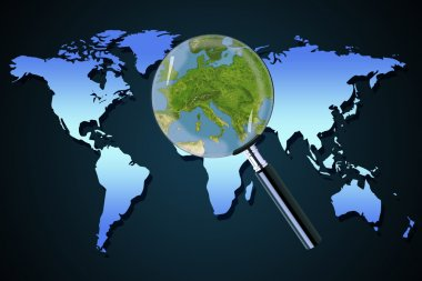 Earth Europe crisis political Greece Italy focused magnifying glass