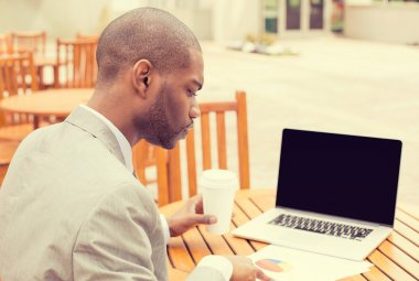man investment consultant analyzing company financial report