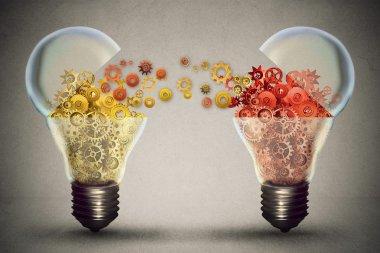 Idea exchange concept. Open lightbulb icon with gear mechanisms