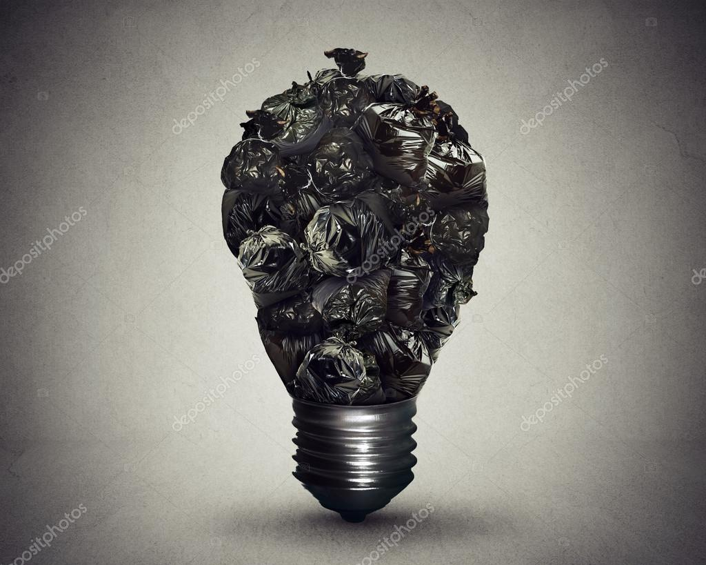 Garbage management solution concept trash bags shaped light bulb