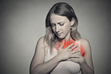 sick woman with heart attack, pain, health problem holding chest