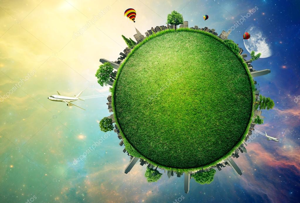 Green planet earth covered with grass city skyline