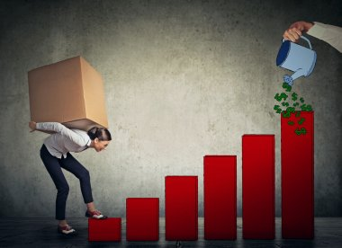 Woman with heavy box on her back climbing up financial success l