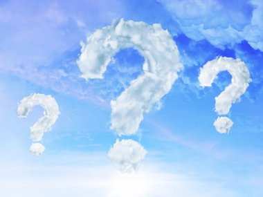 Clouds shaped as question mark on blue sky background stock vector