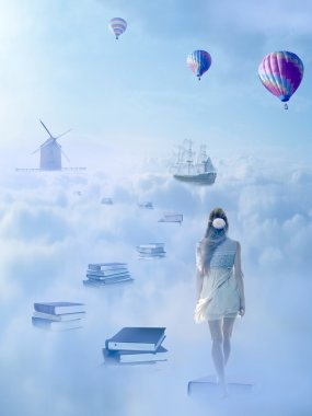 In search for knowledge concept. Woman walking down the book pass above clouds
