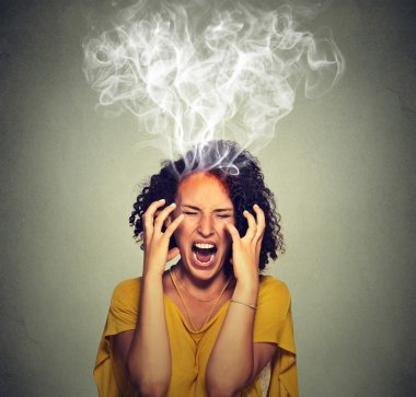 Very angry pissed off woman screaming steam smoke coming out up of head