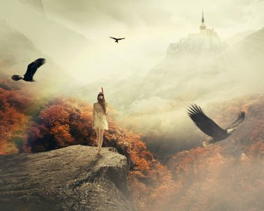 Young woman walking in her dreams enjoying beautiful autumn mountain landscape with castle on the top of the hill. Nature dreamland screen saver stock vector