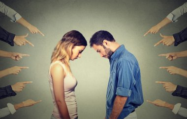 Marriage relationship difficulties concept. Accusation of guilty people