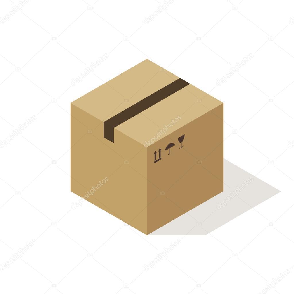 Isométrique boîte en carton icône, style moderne de design plat minimal. boîte en carton fermé avec des symboles fragiles, illustration vectorielle — Image vectorielle