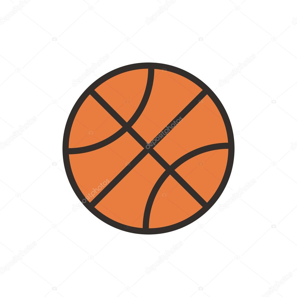 basketball ball outline color icon modern minimal flat design style
