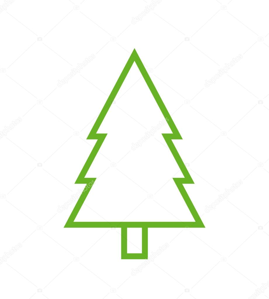 Fir Tree Outline Icon Modern Minimal Flat Design Style Spruce Vector Illustration Pine