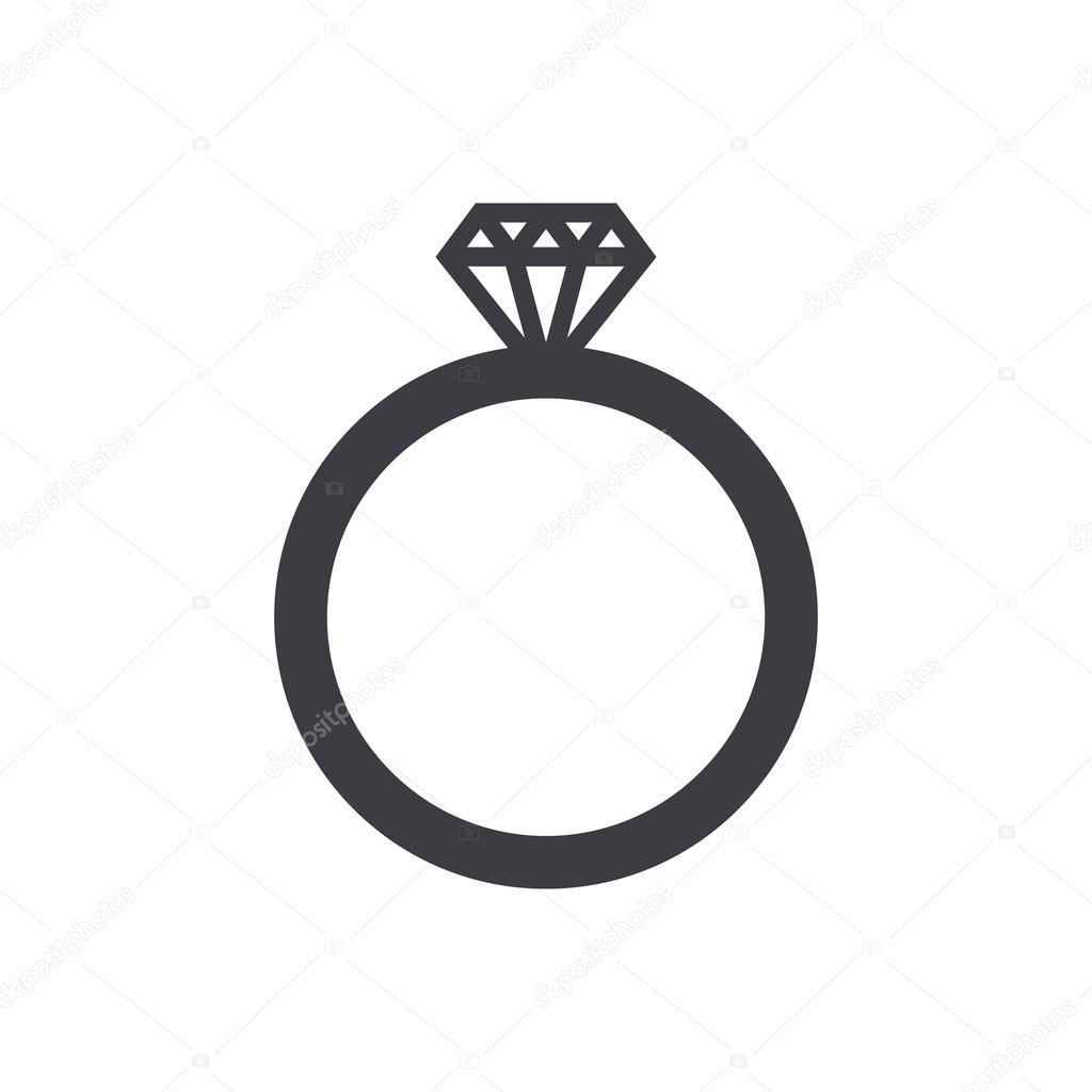 Wedding ring icon modern minimal flat design style Diamond ring