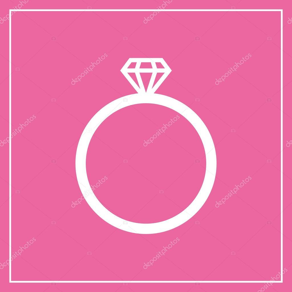 Diamond wedding ring icon, modern minimal flat design style. Jewelry ...