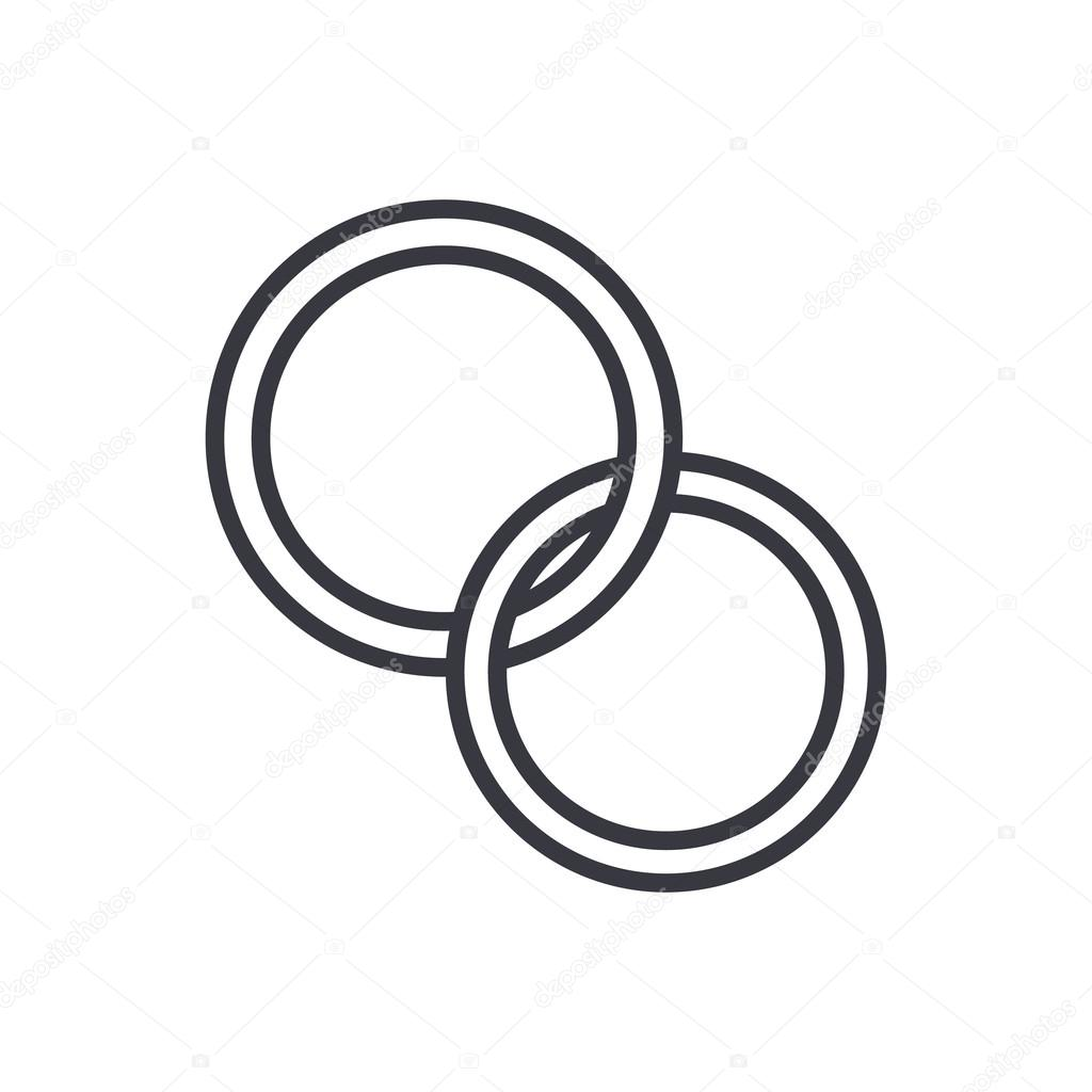 Wedding Outline: Wedding Rings Outline Icon, Modern Minimal Flat Design