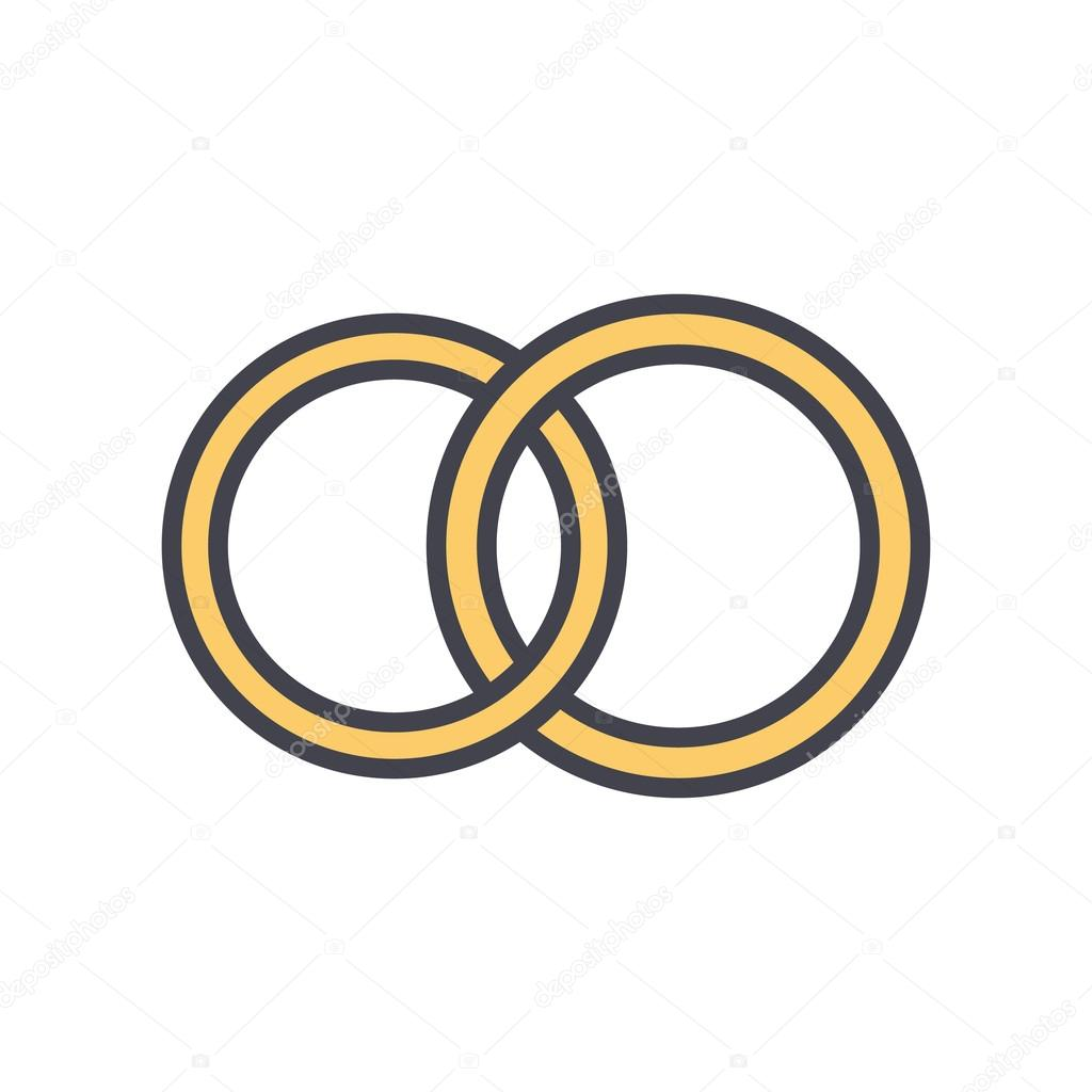 Wedding Rings Outline Color Icon Modern Minimal Flat Design Style
