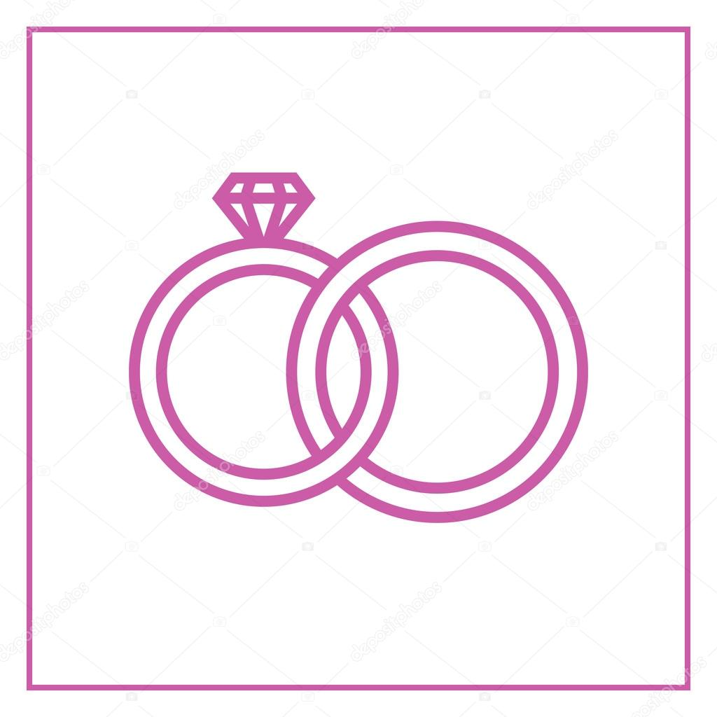 Wedding rings outline icon, modern minimal flat design style ...