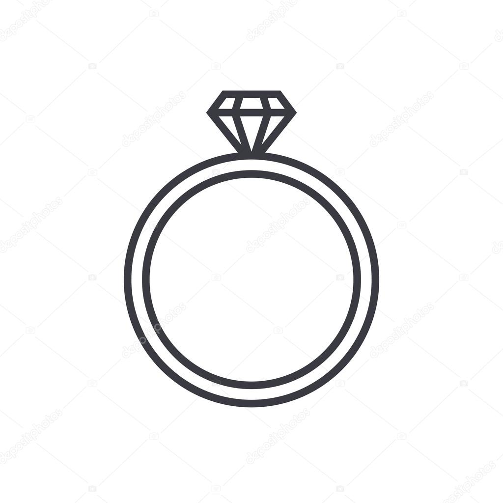 Diamond wedding ring outline icon modern minimal flat design style