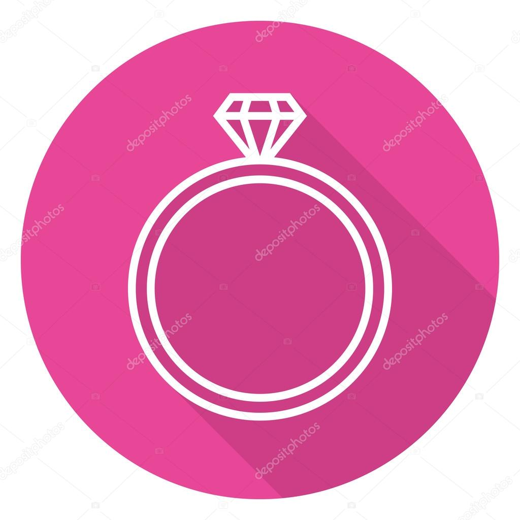 Diamond wedding ring outline icon, modern minimal flat design style ...