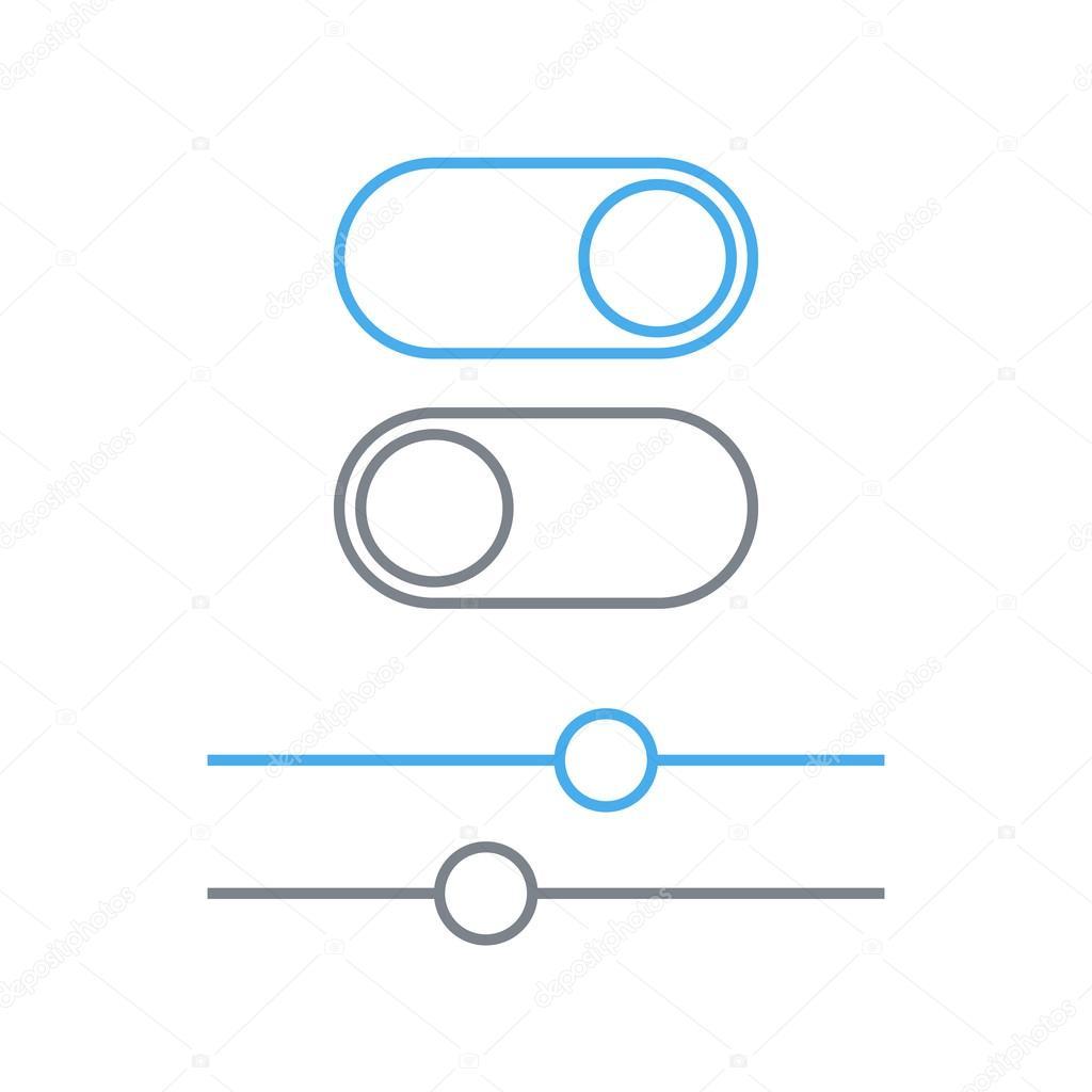 Toggle Schalter und Schieber Umriss-Symbol, On und Off Position ...