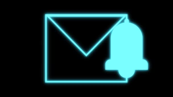 massege bell icon with blue neon light in blinking effect. loop 4k motion graphics isolated on black background. concept for notification, sms, and massege bell web bell icon.