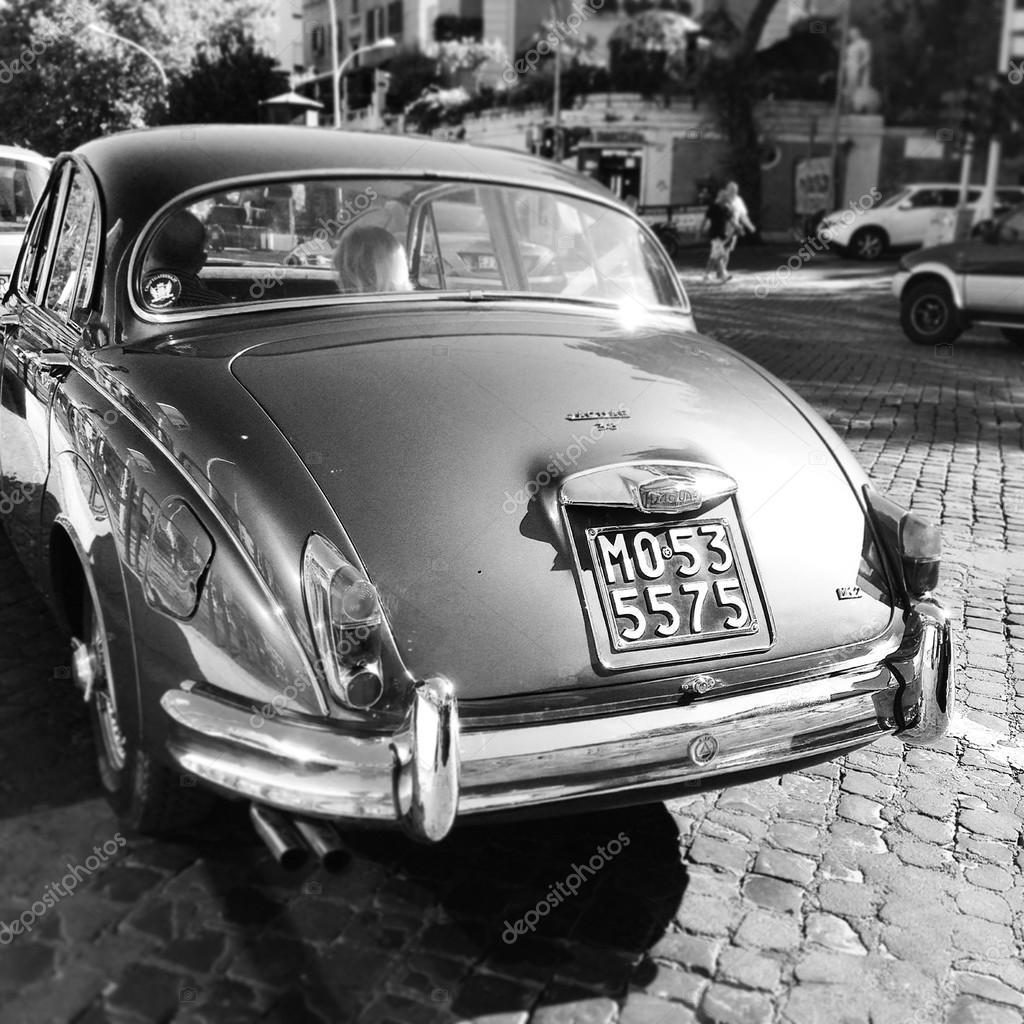 Back View Of Jaguar Car, Black And White U2014 Photo By 3290162_clashot