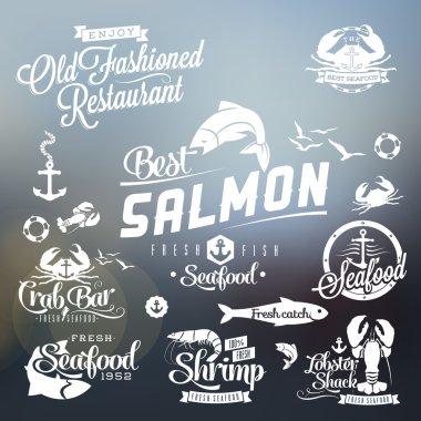 Retro grunge seafood restaurant labels