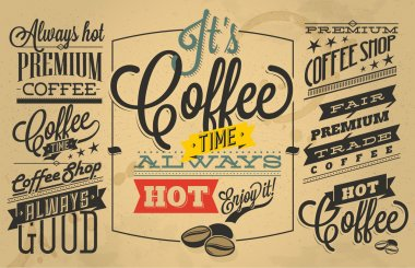 Coffee shop Labels with retro vintage styled design