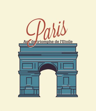 Paris text with arc de triomphe