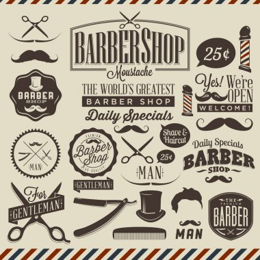 Vintage barber shop labels, graphics and icons