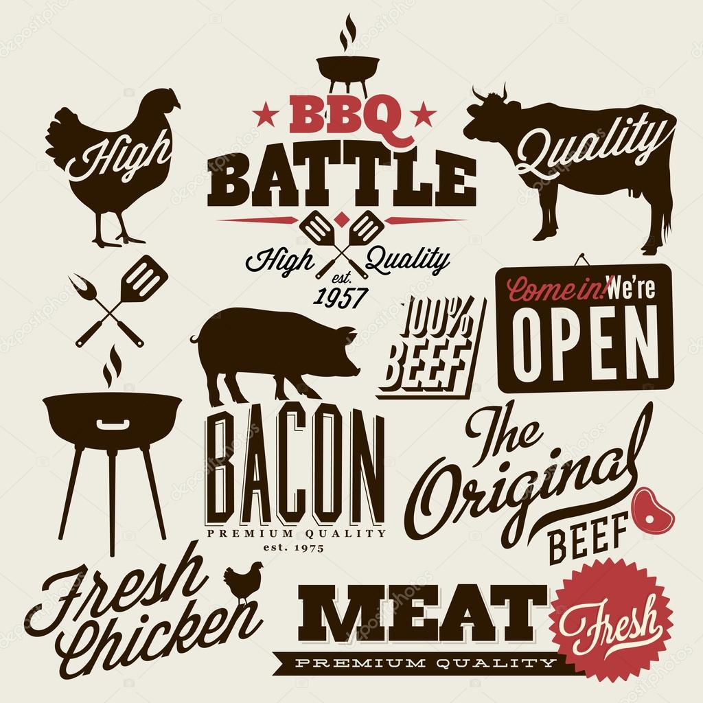 Vintage BBQ Grill elements