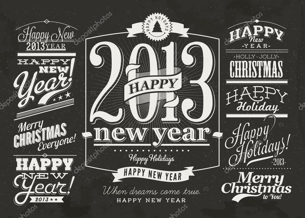 collection of 2013 happy new year labels and merry christmas typography with retro vintage styled design set of calligraphic and typographic elements