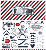 Set von Vintage-Friseur-Shop-Logo-Grafiken und -Icons