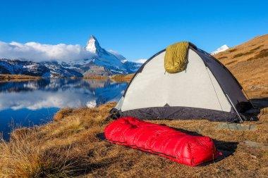 Tent near Matterhorn in Switzerland