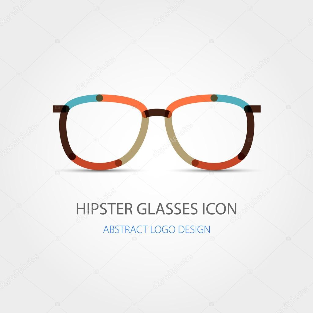 glasses icon abstract logo design vector stock