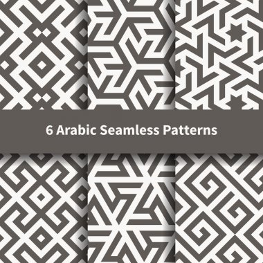 Set of vector arabic geometric texture.