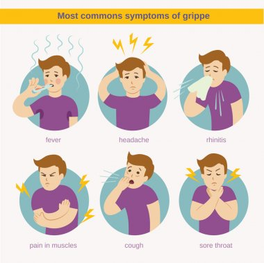Flat infographic - most commons symptoms of grippe clip art vector