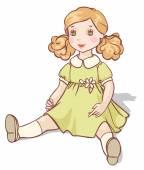 Cartoon-Puppe in einem grünen Kleid